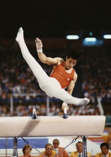 Li Ning during the XXIII Olympic Summer Games at the Edwin W. Pauley Pavilion in Los Angeles, California, on 4th August 1984. (Trevor Jones/Getty Images)