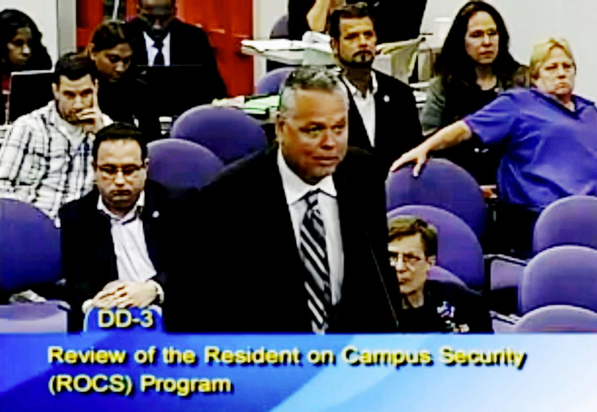 Scot Peterson at a school board meeting of Broward County