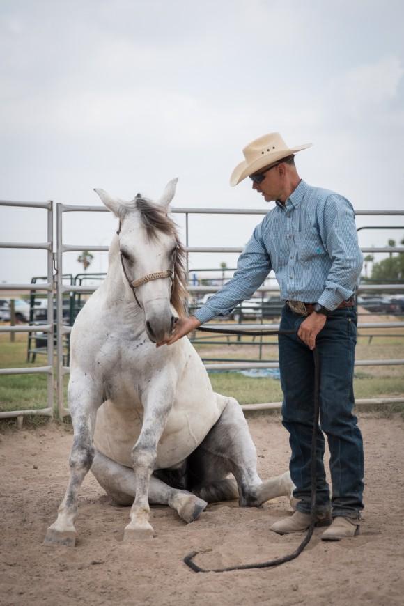 Ruben Garcia, horse patrol coordinator for the Rio Grande Valley Border Patrol Sector, with his mustang called Muñeco in Edinburg, Texas, on May 26, 2017. (Benjamin Chasteen/The Epoch Times)