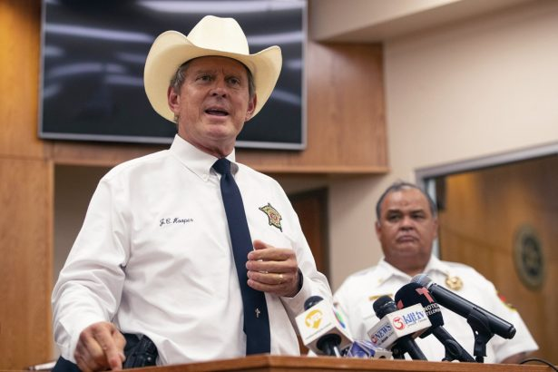 Nueces County Sheriff J.C. Hooper speaks at Robstown City Hall