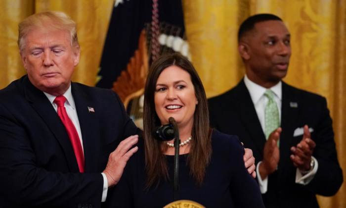 President Donald Trump speaks about White House press secretary Sarah Sanders during an event on second chance hiring in the East Room of the White House in Washington on June 13, 2019. (Evan Vucci/AP Photo)