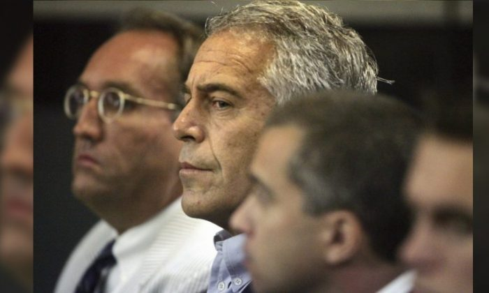 Jeffrey Epstein is shown in custody in West Palm Beach, Fla., on July 30, 2008. (Uma Sanghvi/Palm Beach Post via AP)