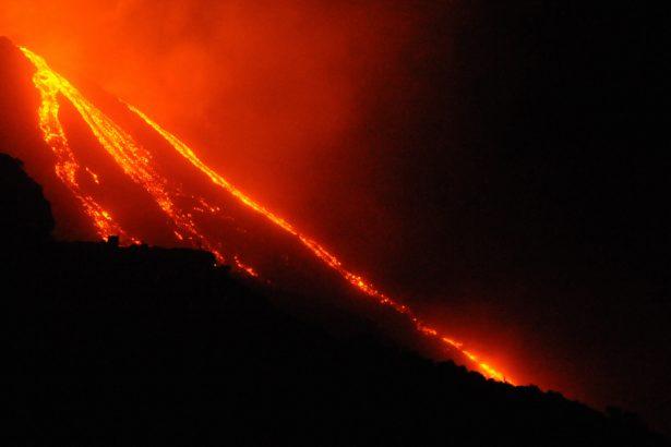 The flanks of the Stromboli volcano