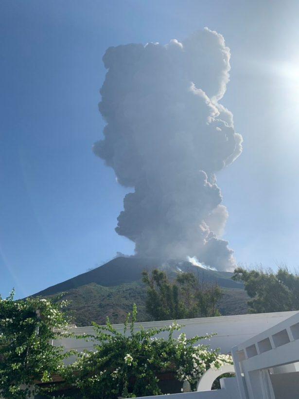 Ash rises after a volcano eruption