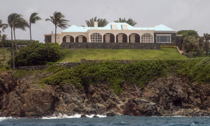 A structure on Little Saint James Island, in the U. S. Virgin Islands on July 9, 2019. The island is owned by Jeffrey Epstein. (AP Photo/Gianfranco Gaglione)