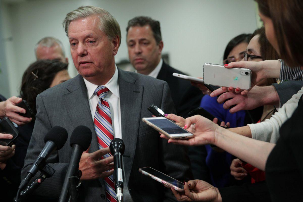 Sen. Lindsey Graham speaks to members of the media