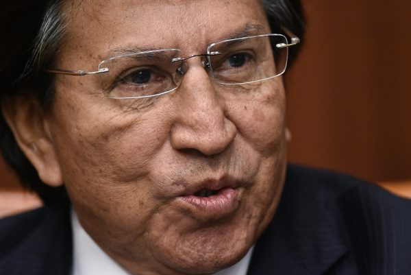 Former president of Peru Alejandro Toledo speaks during a discussion