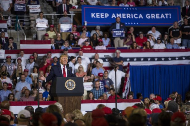 President Donald Trump speaks during a Keep America Great rally in Greenville, North Carolina. on July 17, 2019. (Zach Gibson/Getty Images)