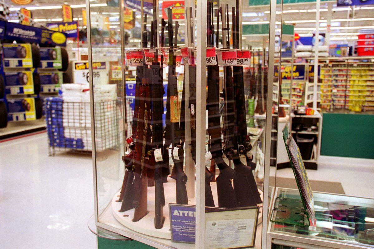 Guns for sale at a Wal-Mart