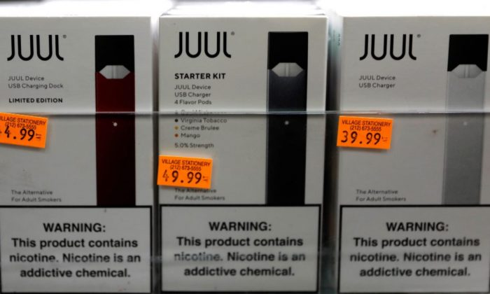 Juul brand vaping pens are seen for sale in a shop in Manhattan, New York, on Feb. 6, 2019. (Mike Segar/File Photo via Reuters)