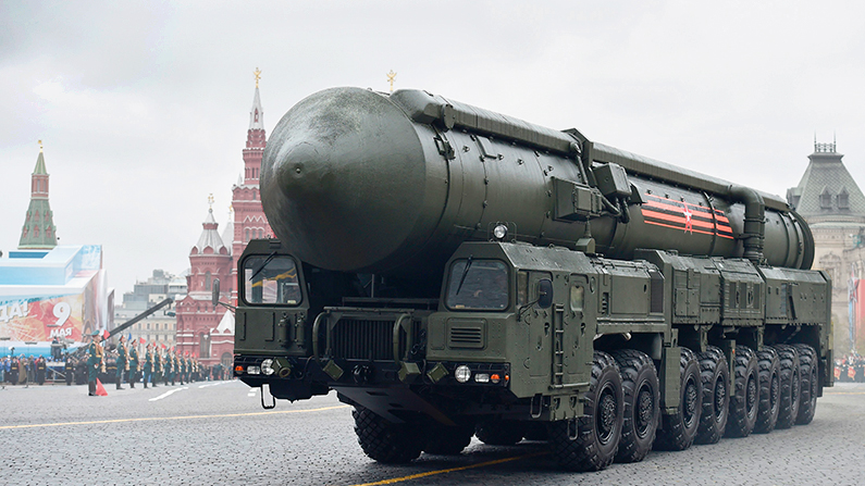 A Russian Yars RS-24 intercontinental ballistic missile system rides through Red Square during the Victory Day military parade in Moscow on May 9, 2017. (Natalia Kolesnikova/AFP/Getty Images)