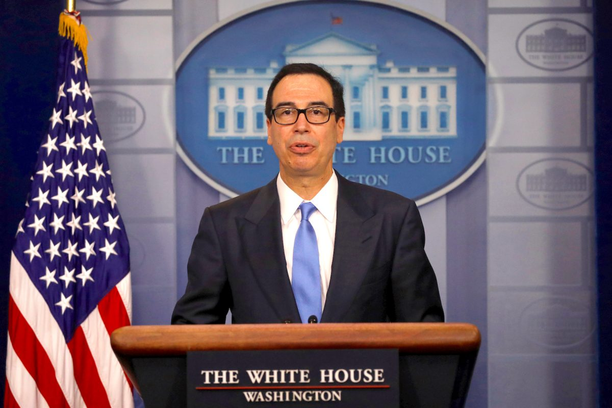 Treasury Secretary Steven Mnuchin answers question from reporters about the United States new sanctions on Iran at the White House in Washington D.C.