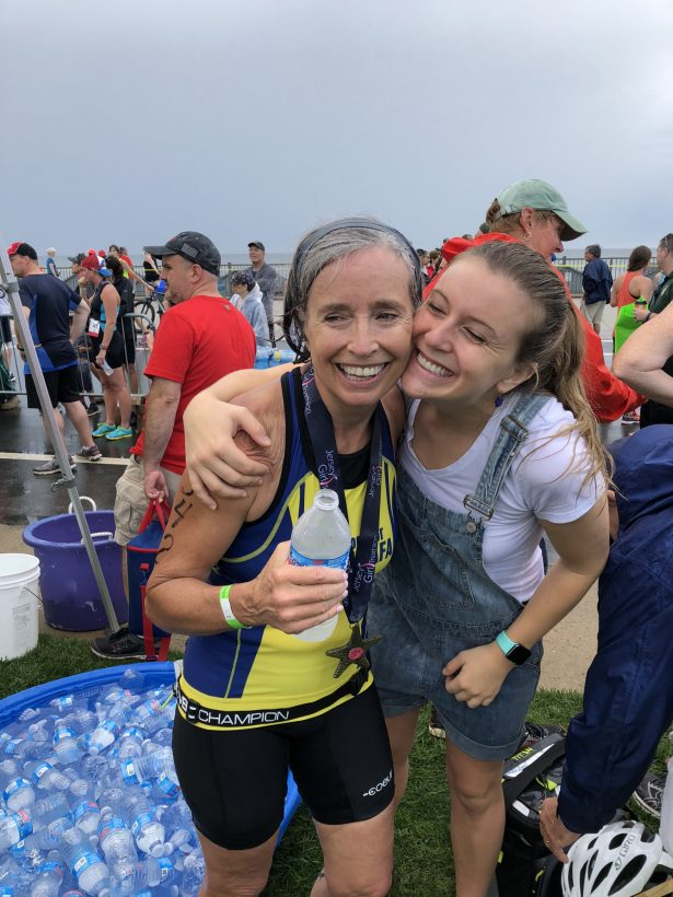 Jeanne Mitchell and her daughter at the triathlon 2018