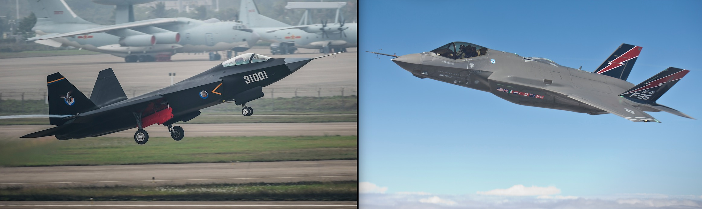 (L) A Chinese J-29 stealth fighter in Zhuhai, south China's Guangdong Province. (R) The U.S. F-35 fighter jet in which the Chinese modeled their J-29 after they hacked in to the U.S. government systems. (AP Photo/Xinhua/Liu Dawei & Lockheed Martin/Matt Short)