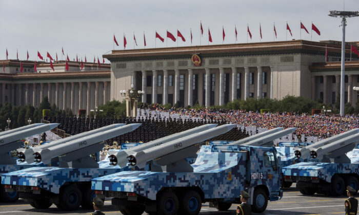 Chinese missiles are on trucks during a military parade in Beijing on Sept. 3, 2019. (Kevin Frayer/Getty Images)