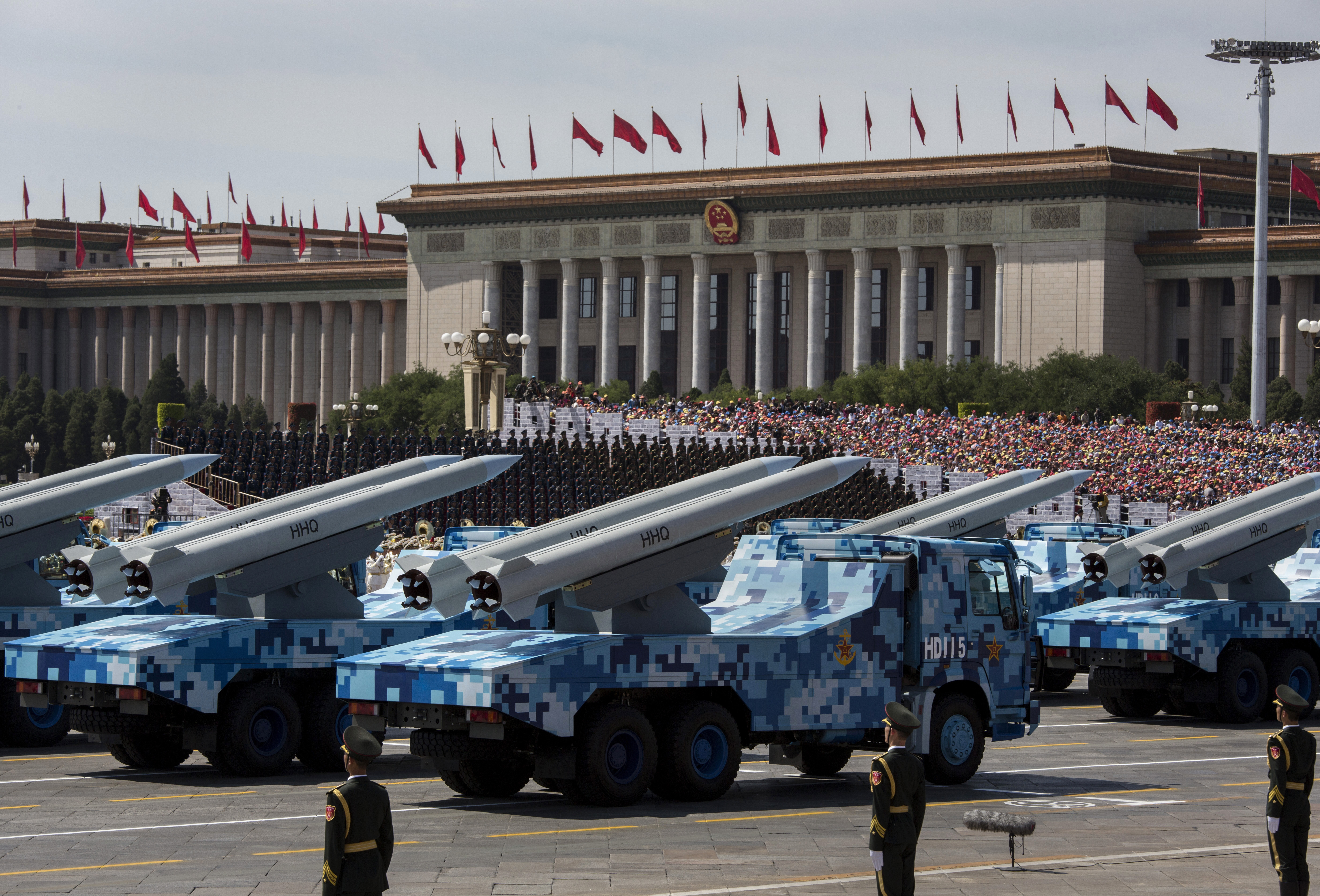 Chinese missiles are on trucks during a military parade in Beijing on Sept. 3. (Kevin Frayer/Getty Images)