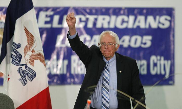 Democratic presidential candidate Sen. Bernie Sanders (I-Vt.), speaks at Hawkeye Downs Expo Center in Cedar Rapids, Iowa, on Nov. 2, 2019. (Charlie Neibergall/AP Photo)