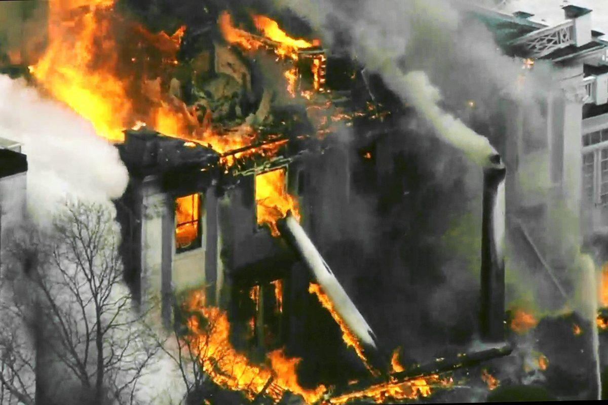 A mansion ablaze